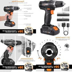 Cordless Drill Driver 20V, 265 In-Lbs, 32 Pcs Accessories, 1