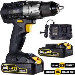 Cordless Drill/Driver 20V Max, TECCPO 530 In-lbs Power Drill