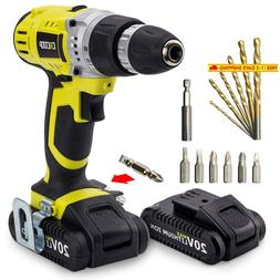 Cacoop Cordless Drill Driver Set With Two 20V Max 1.5Ah Lith