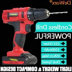 Cordless Drill Electri Driver Kit DIY Tool Set 21V Heavy Dut