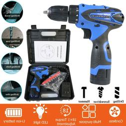 """Cordless Drill Tools 3/8"""" Kit Driver Drill Li-ion Battery &"""