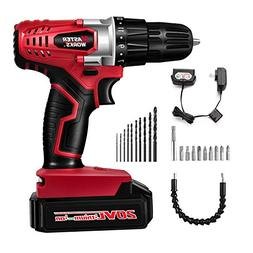 20V MAX Lithium Ion Cordless Drill, Power Drill Set with 3/8
