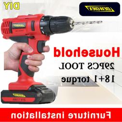 Cordless Electric Drill 1500mAh Li-ion Battery Powered Home