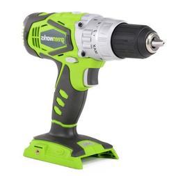 Greenworks 24V 2 Speed Cordless 0.5 Inch Hammer Drill, Green
