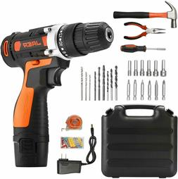 Cordless Power Drill and Home Tool Kit, Set with 3/8 Inches