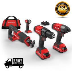 CRAFTSMAN Cordless Power Tools Kit Pack Combo Drill Impact D