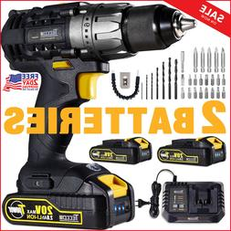 Drill Driver, 20V Cordless with Charger and 2 Batteries