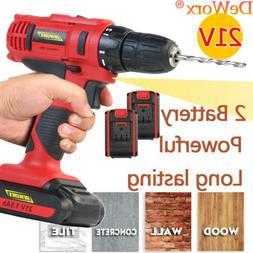 Durable 21V Cordless Drill Double Battery 2 Speed Set LED Li