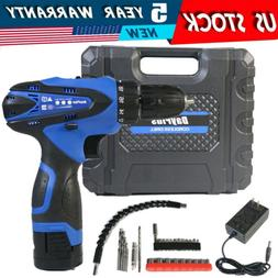 Electric Cordless Screwdriver Drill Power Tool Rechargeable