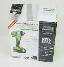 Greenworks 24V Cordless Impact Driver, 2.0 AH Battery Includ
