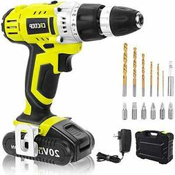CACOOP Green Cordless 20V Lithium-ion Drill Driver Set