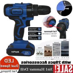 Hammer Drill Impact 21V Cordless Drill Combi 2 Speed Li-ion