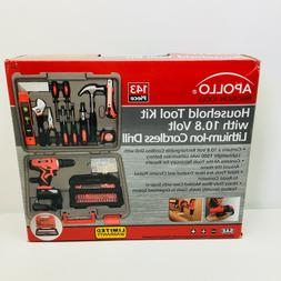 Apollo Tools 143 Piece Household Tool Kit with 10.8 V Sports