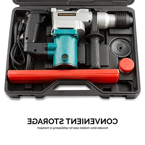 """Hiltex 10504 1"""" Rotary Hammer Amp Includes Chisels, 3 Drill Bits   900 BPM"""