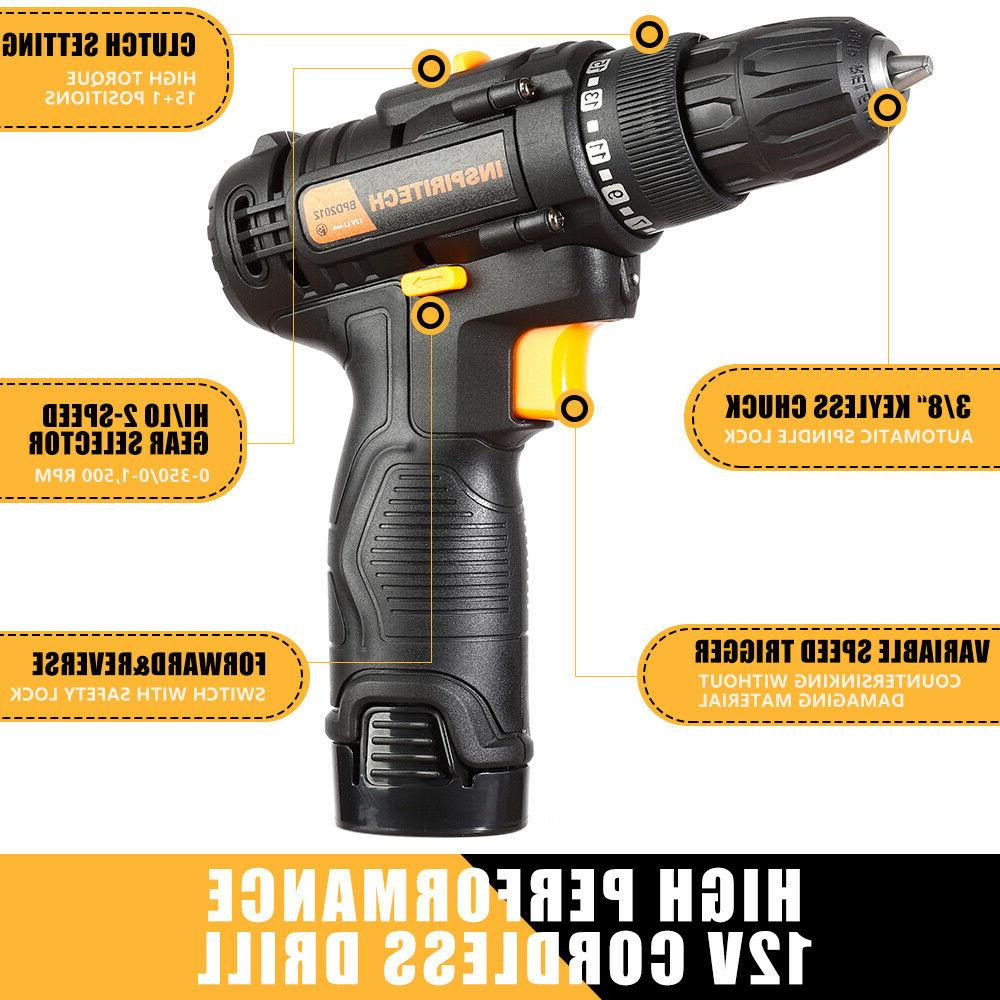 12 V drill 2 Speed Electric Drill/Driver with Bits 2