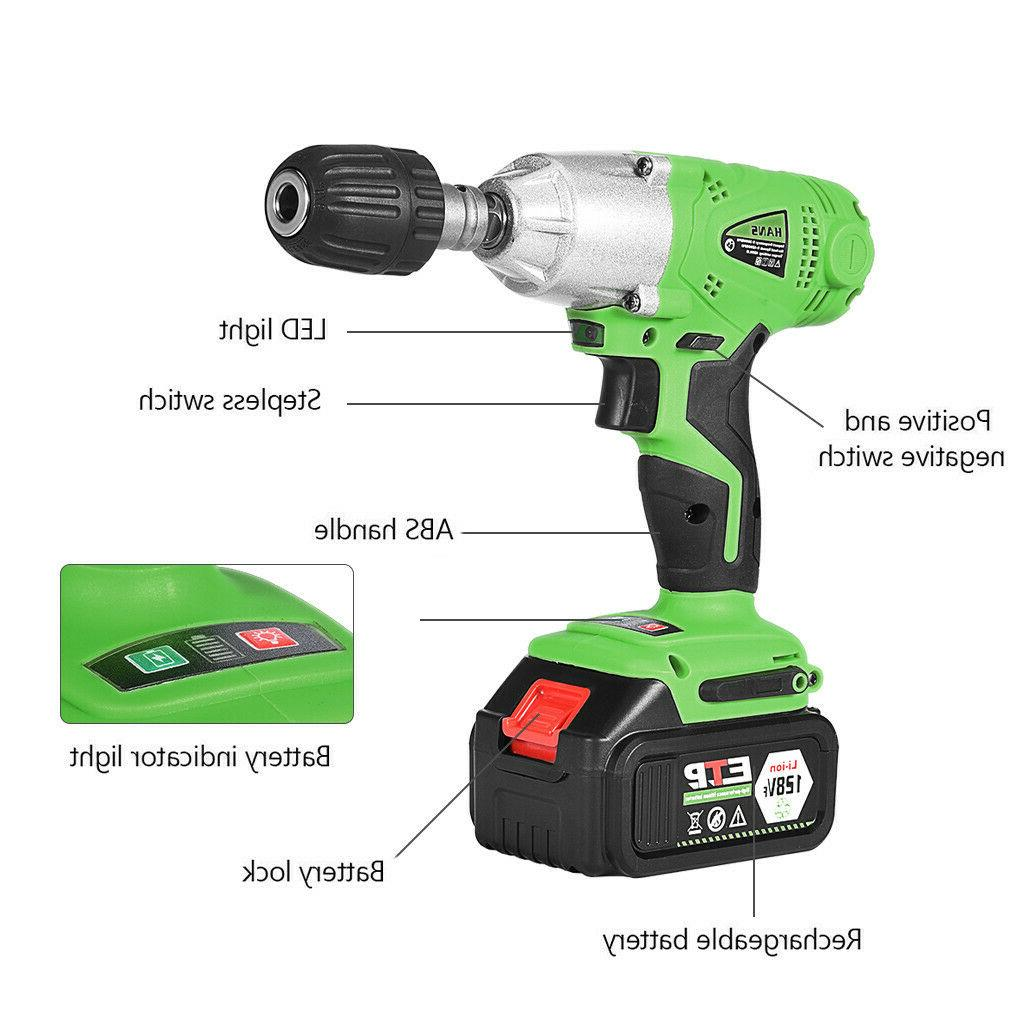 """128VF Electric Wrench 1/2"""" LED Drill 16800mAh Battery USA"""