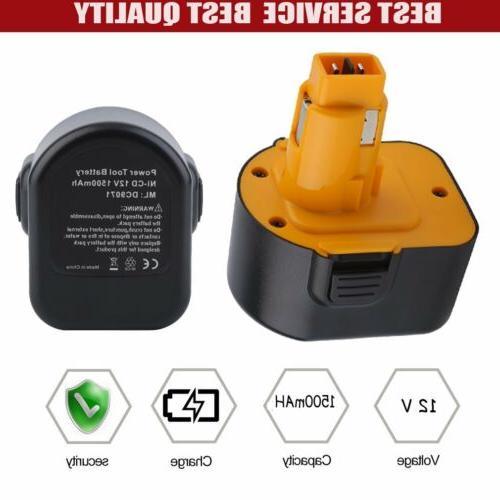 12v 1500mAh 1.5AH Ni-Cd Replacement Battery For Dewalt Cordl