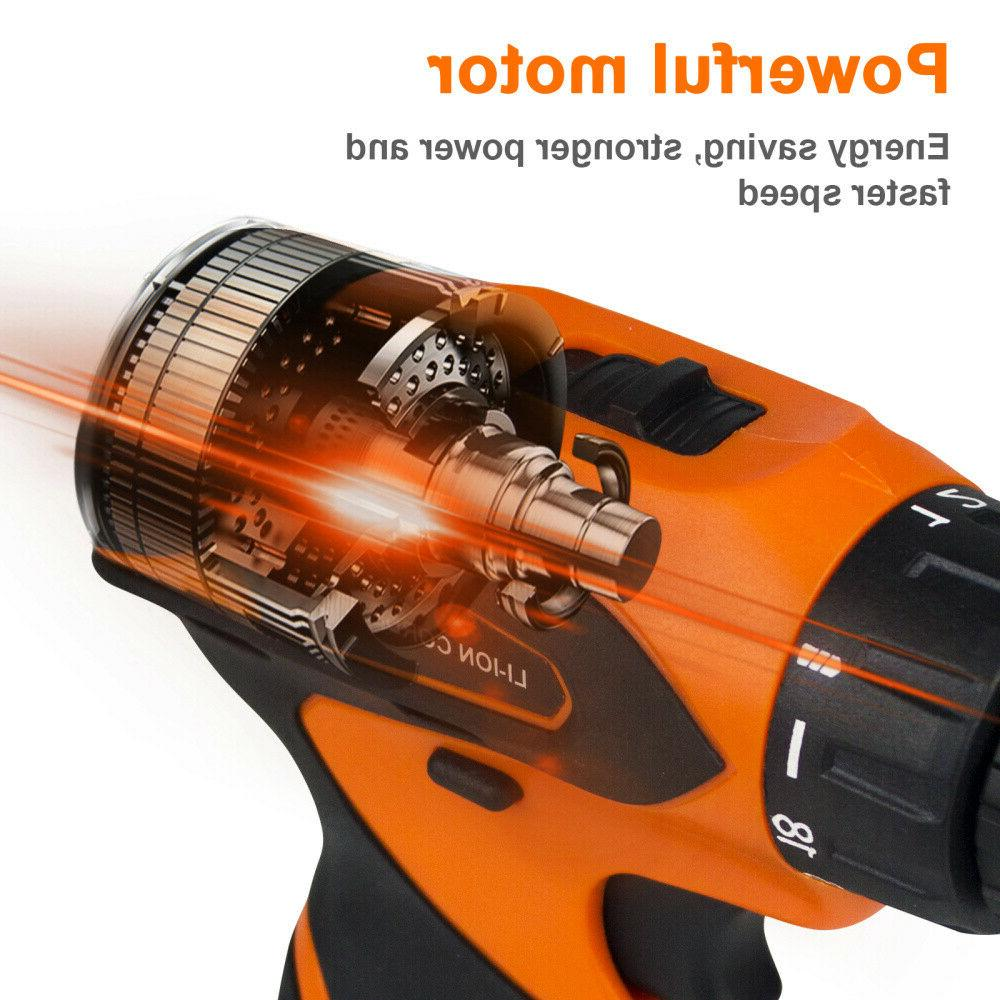 "12V Cordless Electric Screwdriver 3/8""Mini Power Driver+2 Battery"