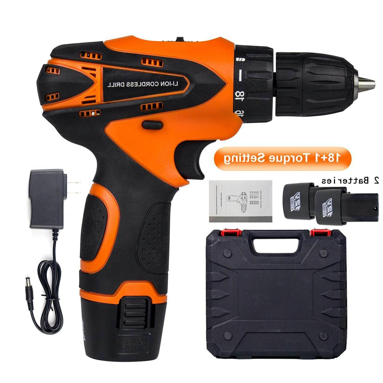 "12V Screwdriver 3/8""Mini Wireless Driver+2 Battery"