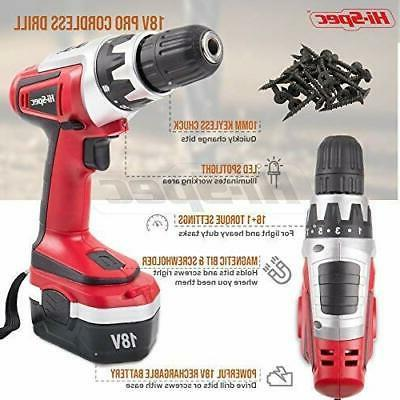 Hi-Spec 18 Combo Cordless Drill with 1000 mAh Battery, Red