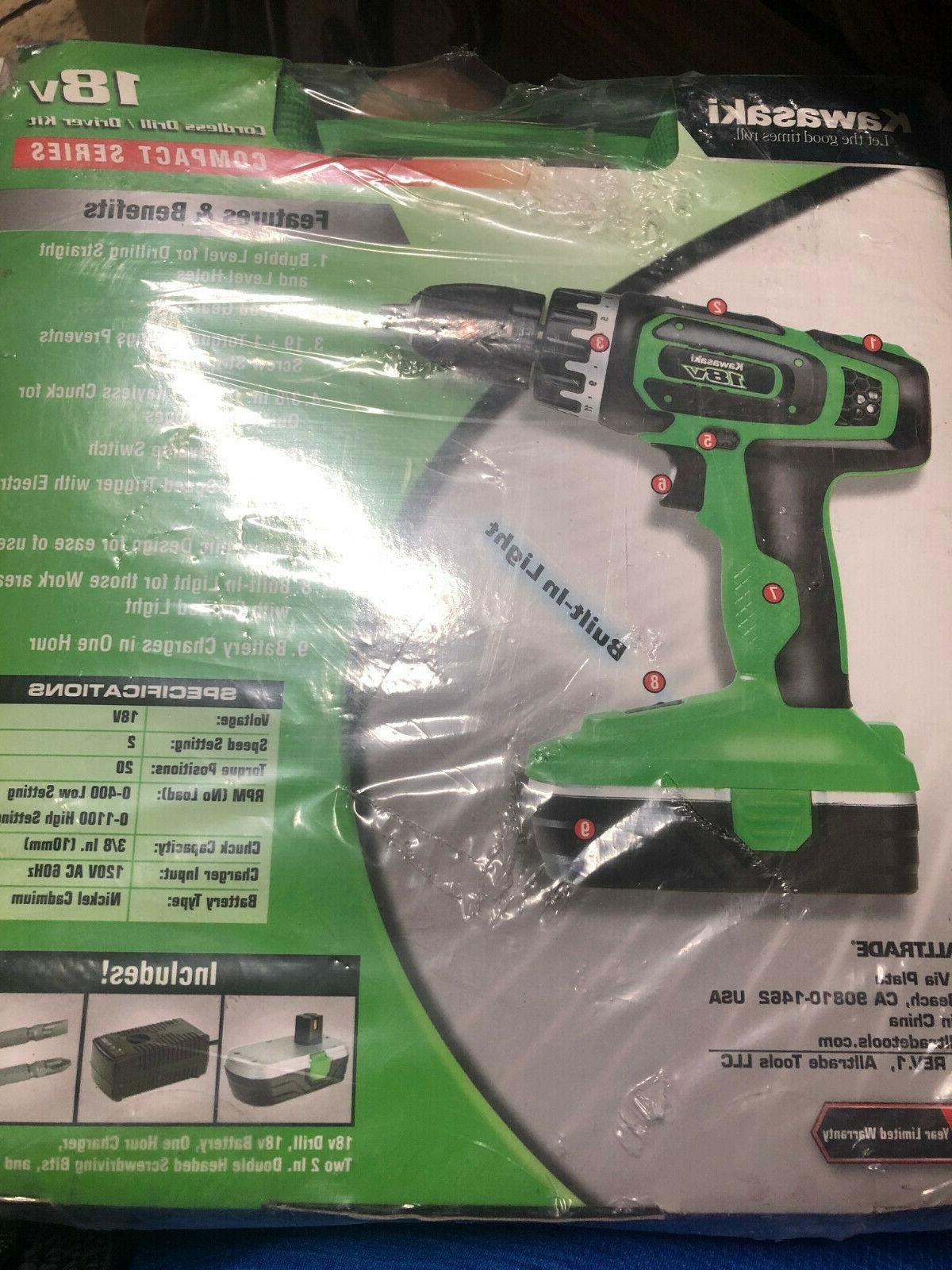 18v cordless drill driver kit with battery