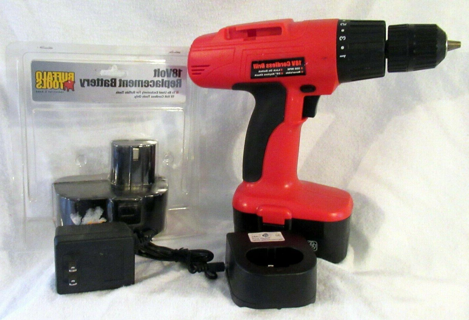 18v cordless drill with 2 batteries