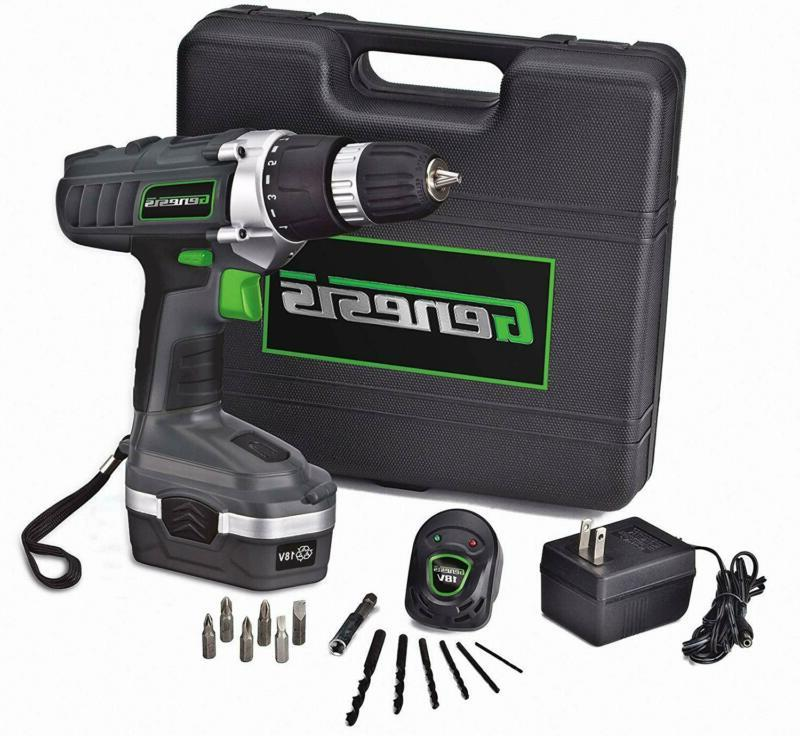 18 Volt Cordless Variable Speed Drill/Driver Kit Grey,3/8-in