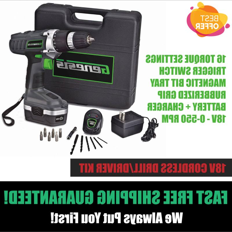 18v cordless electric rechargeable drill driver kit
