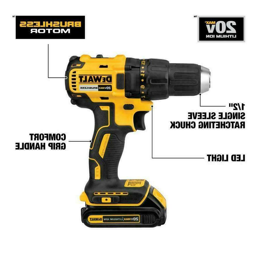 "DEWALT Max 1/2"" Cordless Brushless Drill with Batteries"