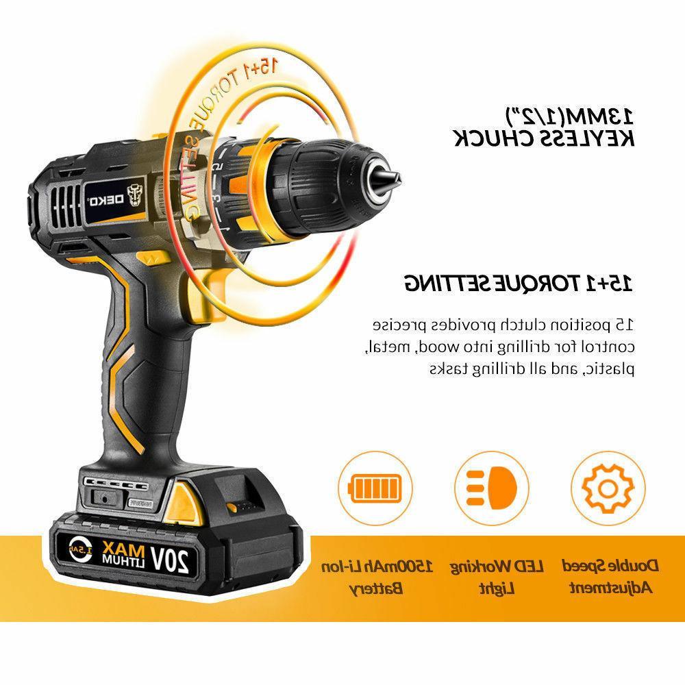 DEKO Cordless 32N.m DC Battery 2-Speed Electric Drill