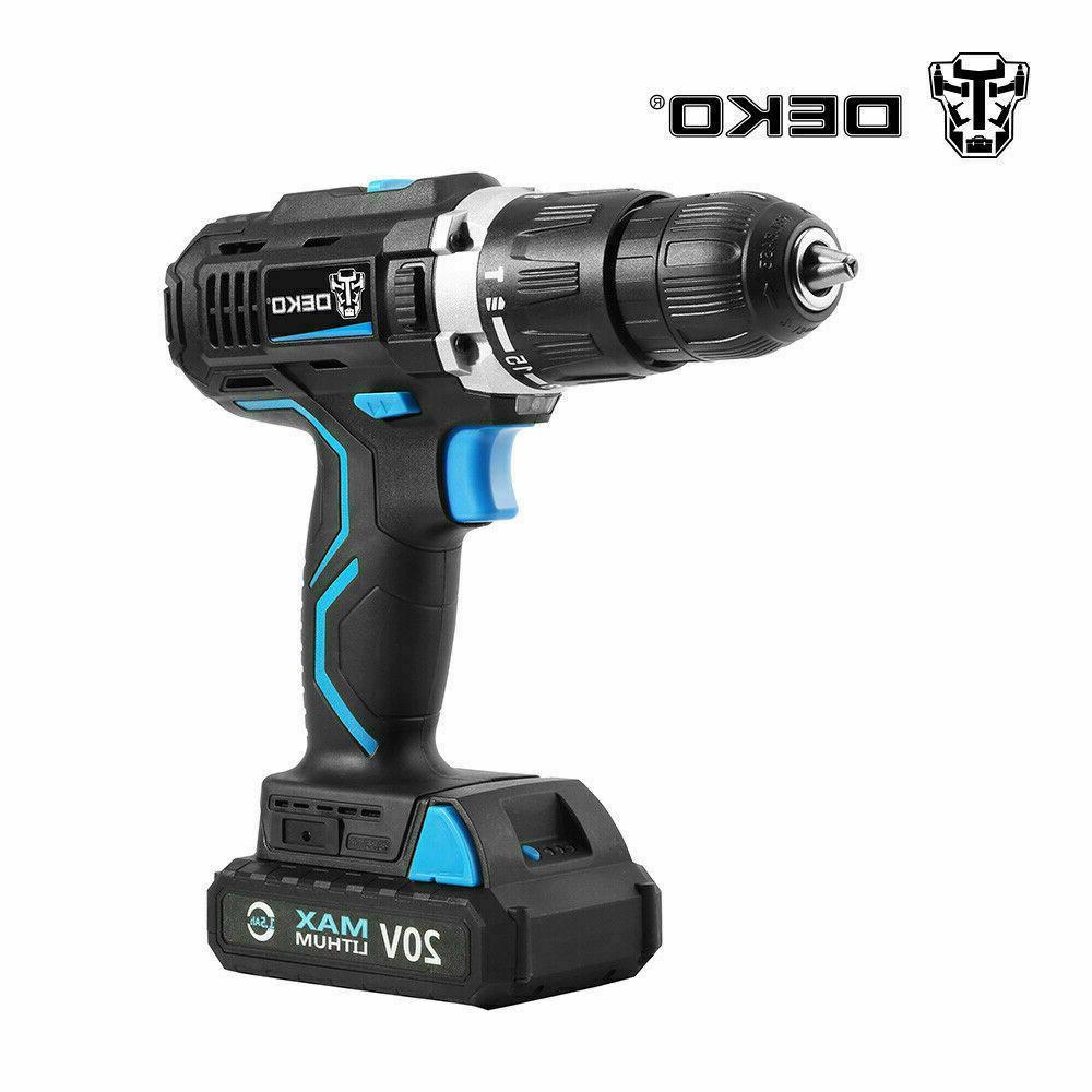 DEKO 20V Electric Cordless Drill Max DC 13mm Impact Drill Po