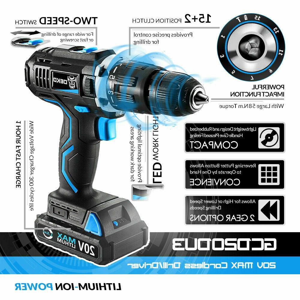 DEKO 20V Electric Cordless Drill Impact Drill Power Driver M