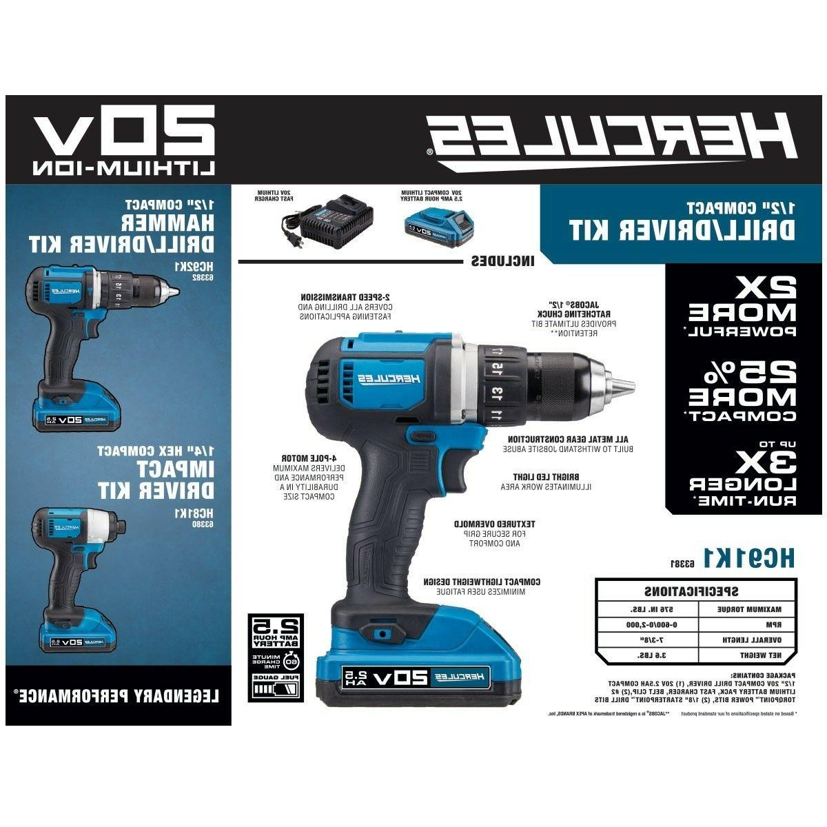 Hercules Cordless 1/2 In. Drill/Driver Kit