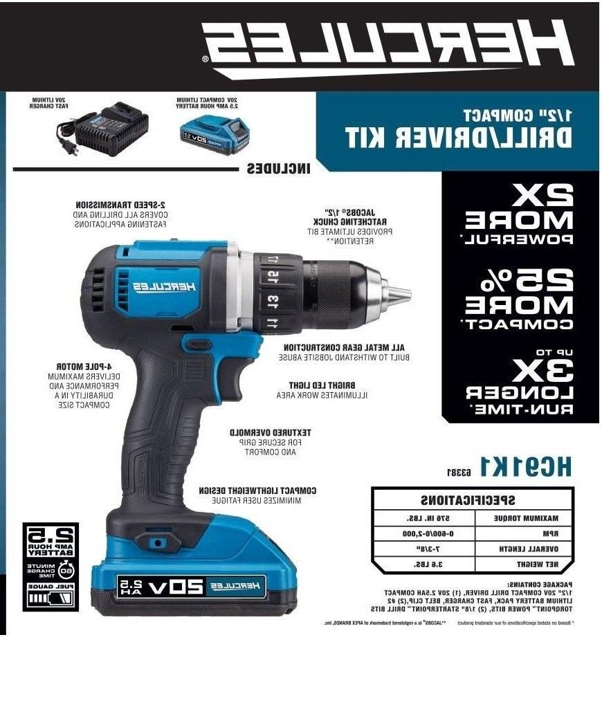 20v lithium ion cordless compact drill driver