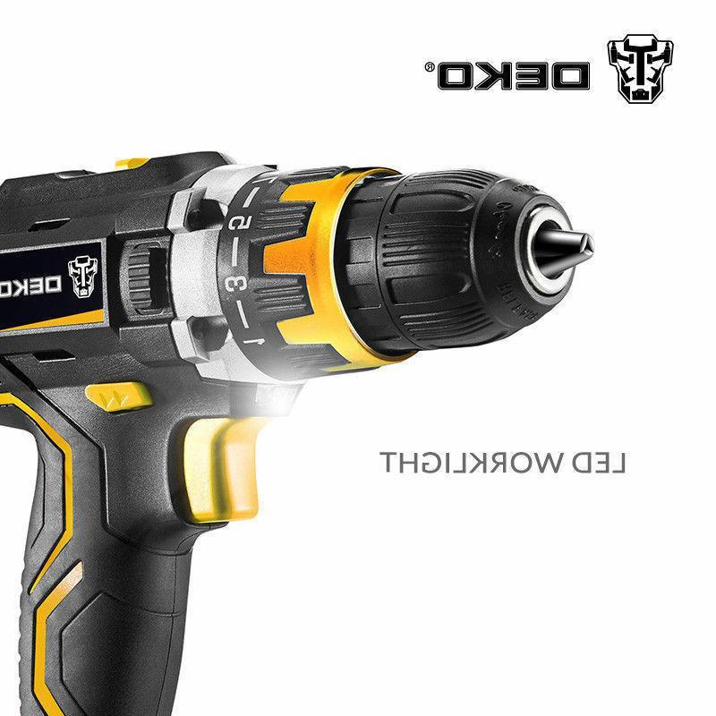 DEKO 20V Drill 32N.m Li-ion Battery 2-Speed