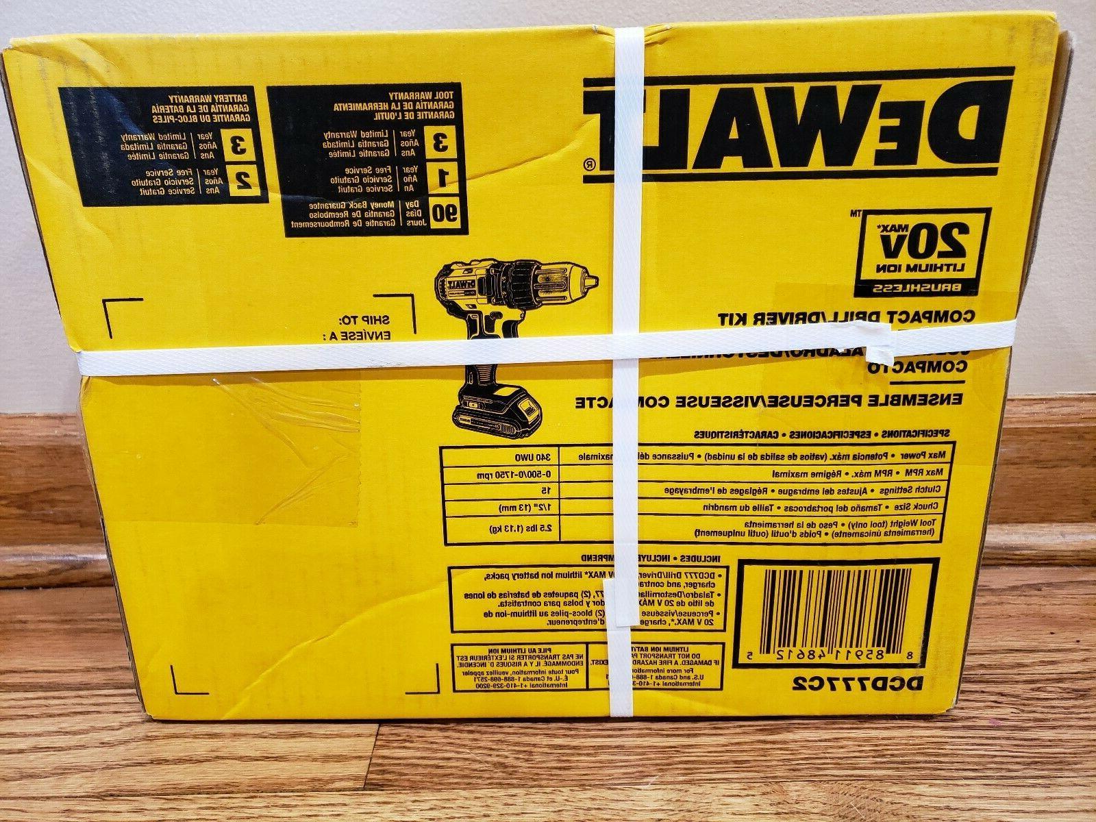 """DeWalt Li-Ion Brushless 1/2"""" Drill/Driver Kit DCD777C2"""
