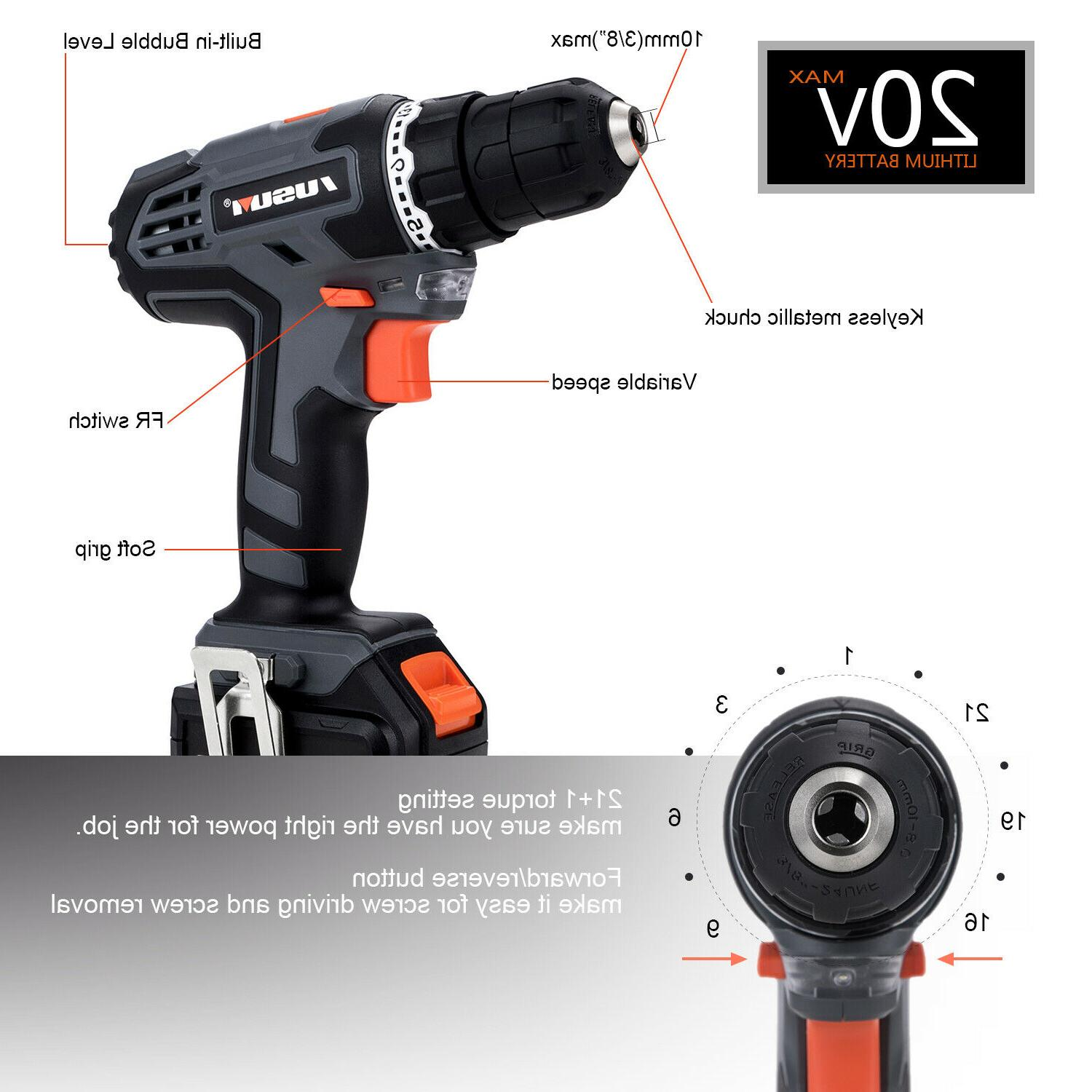 20V Cordless & Impact Driver with Set & Battery