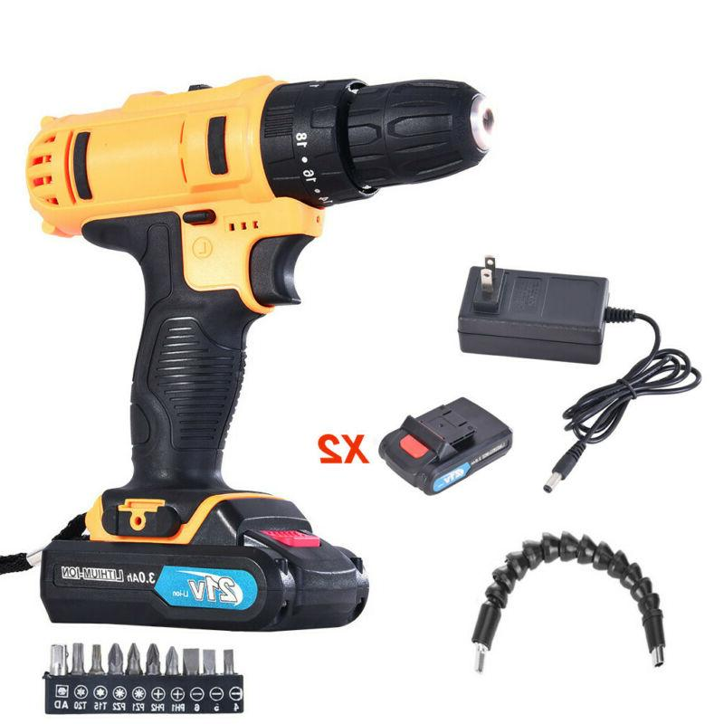 21-Volt drill 2 Speed Electric Cordless Drill/Driver with Bits Batteries