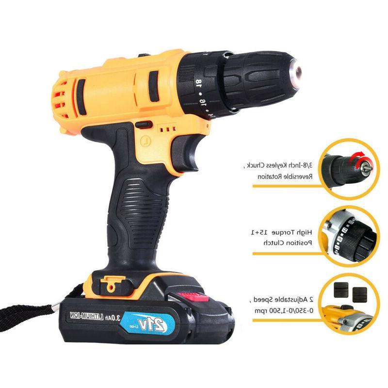 21-Volt drill Electric Cordless Bits Set Batteries