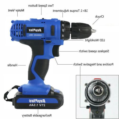 21-Volt drill Electric Cordless Driver with & 2