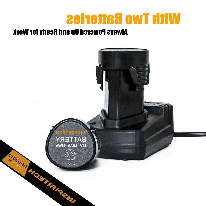12-Volt Electric Drill/Driver Bits Set & Batteries