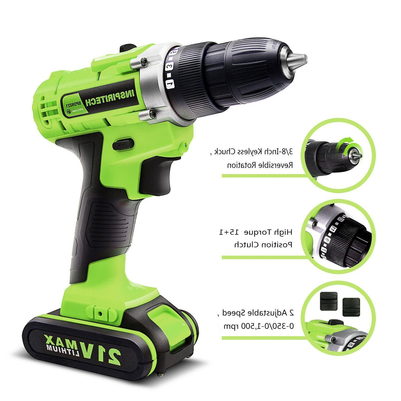21-Volt drill 2 Electric Bits Set & Batteries
