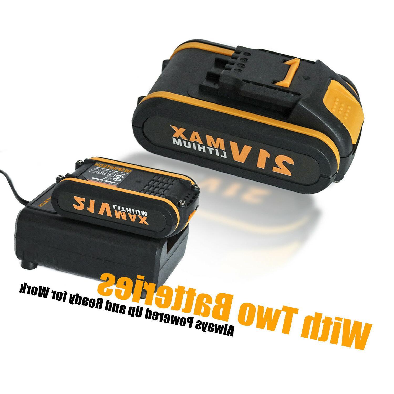 21-Volt Electric Drill/Driver Bits Set & 2 Batteries