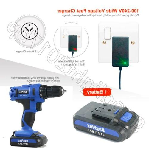21V CORDLESS COMBI DRIVER ELECTRIC SCREWDRIVER WITH SET
