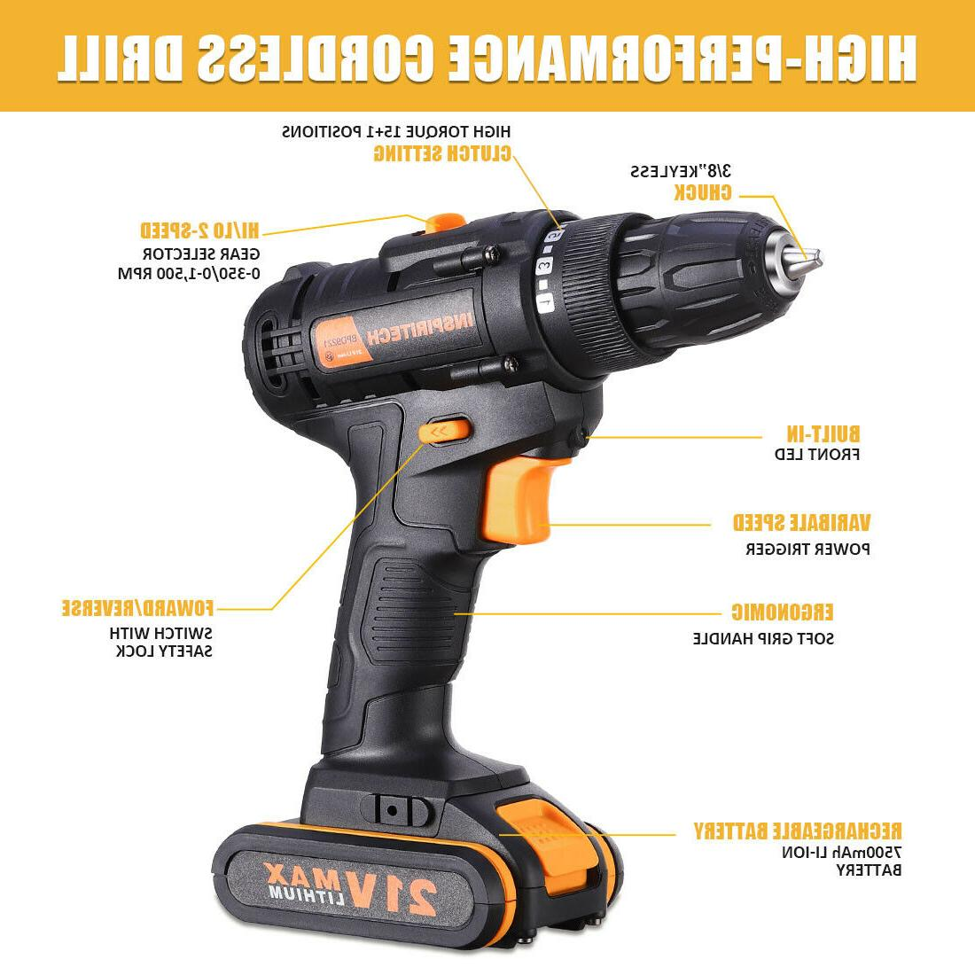 21 V drill 2 Speed Cordless with Bits 2