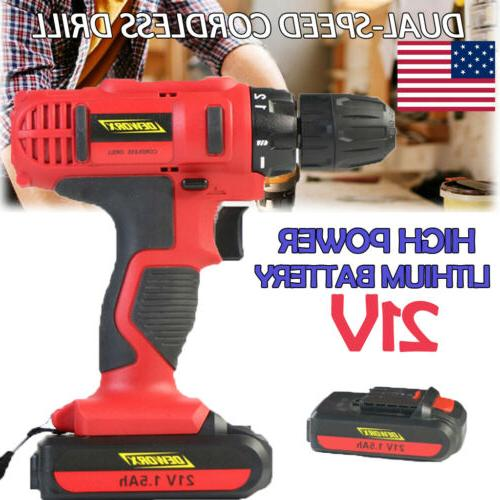 21v cordless electric power drill driver screwdriver