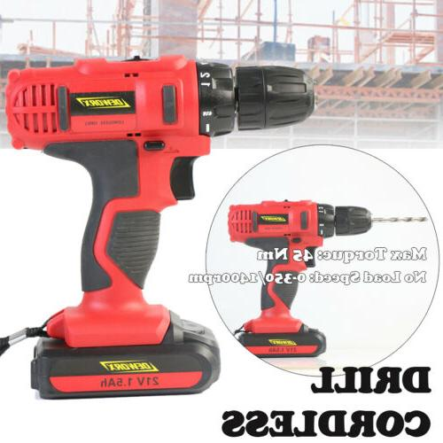21v electric cordless drill dual speed screwdriver