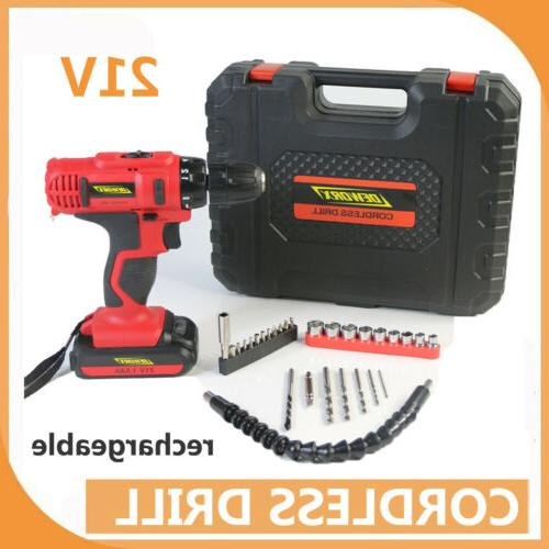 21v lithium ion cordless drill driver set