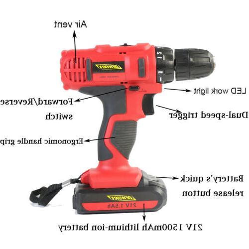 21V Cordless Driver 18+1 Tool Repair Home