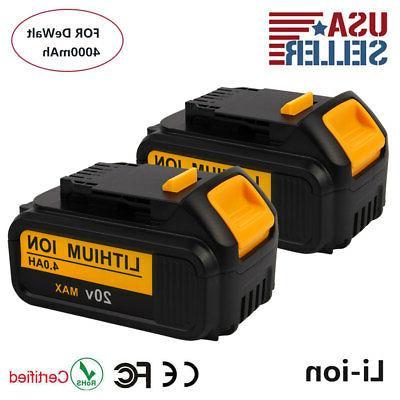 2x 20V 4Ah Li-ion Battery for DEWALT DCB200 DCB204 DCD780 DC